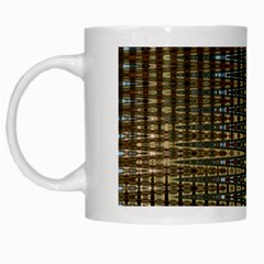 Background Colors Of Green And Gold In A Wave Form White Mugs by BangZart