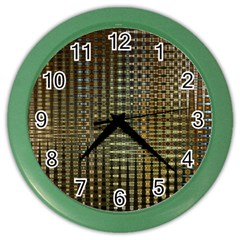 Background Colors Of Green And Gold In A Wave Form Color Wall Clocks by BangZart
