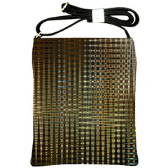 Background Colors Of Green And Gold In A Wave Form Shoulder Sling Bags by BangZart