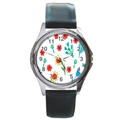 Flowers Fabric Design Round Metal Watch by BangZart
