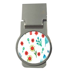 Flowers Fabric Design Money Clips (round)  by BangZart