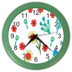 Flowers Fabric Design Color Wall Clocks by BangZart