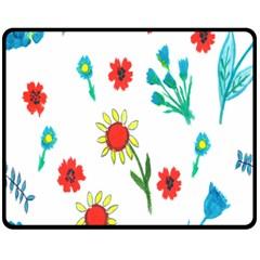 Flowers Fabric Design Fleece Blanket (medium)  by BangZart
