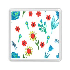 Flowers Fabric Design Memory Card Reader (square)  by BangZart