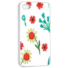 Flowers Fabric Design Apple Iphone 4/4s Seamless Case (white) by BangZart