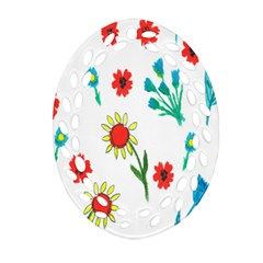 Flowers Fabric Design Oval Filigree Ornament (two Sides) by BangZart