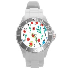 Flowers Fabric Design Round Plastic Sport Watch (l) by BangZart