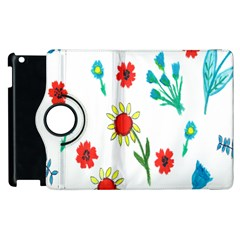 Flowers Fabric Design Apple Ipad 2 Flip 360 Case by BangZart
