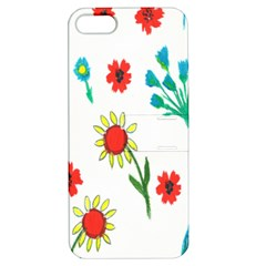 Flowers Fabric Design Apple Iphone 5 Hardshell Case With Stand by BangZart