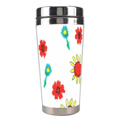 Flowers Fabric Design Stainless Steel Travel Tumblers by BangZart