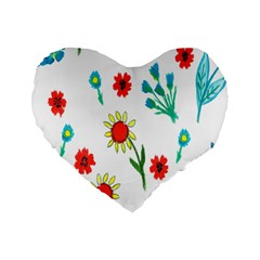 Flowers Fabric Design Standard 16  Premium Flano Heart Shape Cushions by BangZart