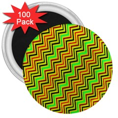 Green Red Brown Zig Zag Background 3  Magnets (100 Pack) by BangZart