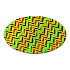 Green Red Brown Zig Zag Background Oval Magnet by BangZart