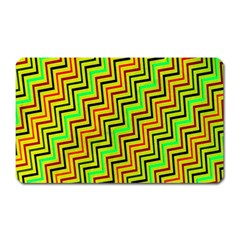 Green Red Brown Zig Zag Background Magnet (rectangular) by BangZart