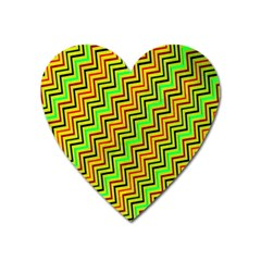 Green Red Brown Zig Zag Background Heart Magnet by BangZart