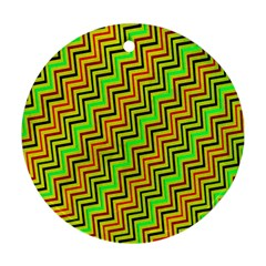 Green Red Brown Zig Zag Background Round Ornament (two Sides) by BangZart