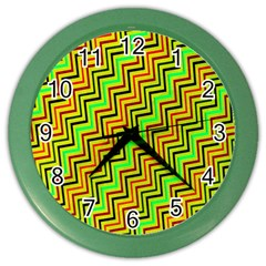 Green Red Brown Zig Zag Background Color Wall Clocks by BangZart