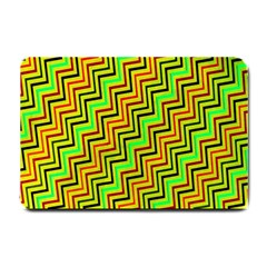 Green Red Brown Zig Zag Background Small Doormat  by BangZart