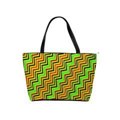 Green Red Brown Zig Zag Background Shoulder Handbags by BangZart