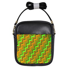 Green Red Brown Zig Zag Background Girls Sling Bags by BangZart