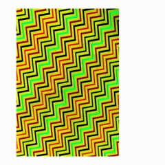 Green Red Brown Zig Zag Background Small Garden Flag (two Sides) by BangZart