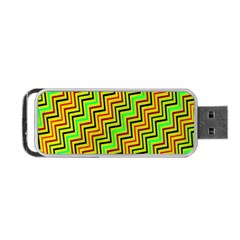 Green Red Brown Zig Zag Background Portable Usb Flash (two Sides) by BangZart