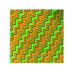 Green Red Brown Zig Zag Background Small Satin Scarf (square) by BangZart