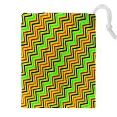 Green Red Brown Zig Zag Background Drawstring Pouches (xxl) by BangZart