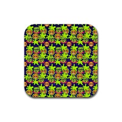 Smiley Monster Rubber Square Coaster (4 Pack)  by BangZart