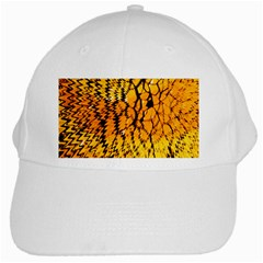 Yellow Chevron Zigzag Pattern White Cap by BangZart