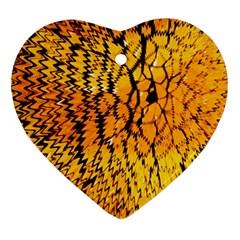 Yellow Chevron Zigzag Pattern Ornament (heart) by BangZart