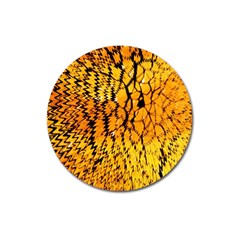 Yellow Chevron Zigzag Pattern Magnet 3  (round) by BangZart