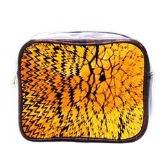 Yellow Chevron Zigzag Pattern Mini Toiletries Bags by BangZart