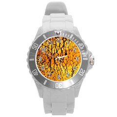 Yellow Chevron Zigzag Pattern Round Plastic Sport Watch (l)