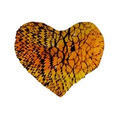 Yellow Chevron Zigzag Pattern Standard 16  Premium Flano Heart Shape Cushions by BangZart