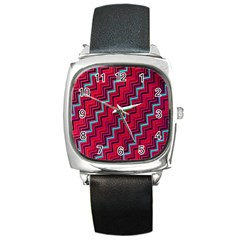 Red Turquoise Black Zig Zag Background Square Metal Watch by BangZart