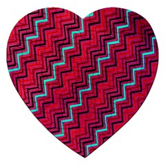 Red Turquoise Black Zig Zag Background Jigsaw Puzzle (heart) by BangZart