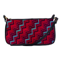 Red Turquoise Black Zig Zag Background Shoulder Clutch Bags by BangZart