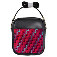 Red Turquoise Black Zig Zag Background Girls Sling Bags by BangZart
