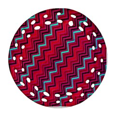 Red Turquoise Black Zig Zag Background Ornament (round Filigree) by BangZart