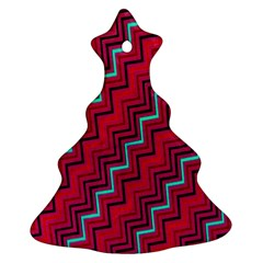Red Turquoise Black Zig Zag Background Christmas Tree Ornament (two Sides) by BangZart