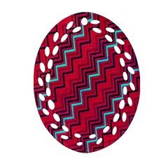 Red Turquoise Black Zig Zag Background Oval Filigree Ornament (two Sides) by BangZart
