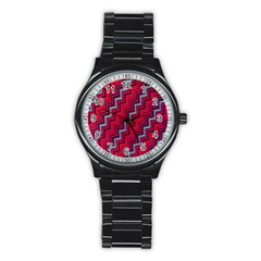 Red Turquoise Black Zig Zag Background Stainless Steel Round Watch by BangZart