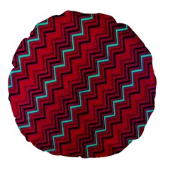 Red Turquoise Black Zig Zag Background Large 18  Premium Flano Round Cushions by BangZart