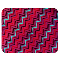 Red Turquoise Black Zig Zag Background Double Sided Flano Blanket (medium)  by BangZart