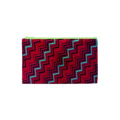Red Turquoise Black Zig Zag Background Cosmetic Bag (xs) by BangZart