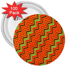 Orange Turquoise Red Zig Zag Background 3  Buttons (100 Pack)  by BangZart
