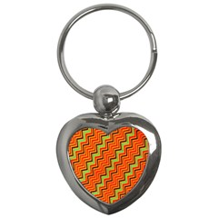 Orange Turquoise Red Zig Zag Background Key Chains (heart)  by BangZart