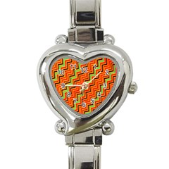 Orange Turquoise Red Zig Zag Background Heart Italian Charm Watch by BangZart