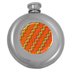 Orange Turquoise Red Zig Zag Background Round Hip Flask (5 Oz) by BangZart
